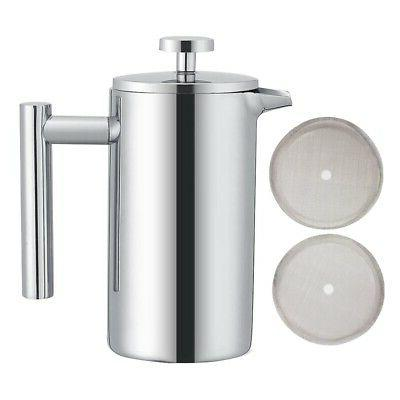 2x coffee pot french press stainless steel